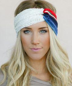 Loving this Orange & Blue Lace Serape Headband - Women on #zulily! #zulilyfinds