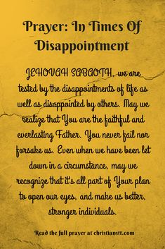 Prayer: In Times Of Disappointment