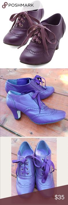 Dance Instead of Walking Heel in Purple From ModCloth. Worn once for a few hours. Minor scuff marks shown in photo. Questions..? Please ask! Thank you! Modcloth Shoes Heels