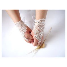 Gorgeous Gloves Lace Wedding Gloves ❤ liked on Polyvore featuring gloves