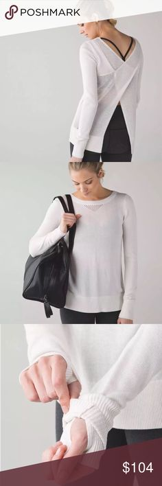 Lululemon Sunset Savasana Pullover ll Leave the back open on this beautiful Lululemon Sunset Savasana Pullover ll for extra airflow post practice, or button up to run errands. Made of Boolux a mix of Cashmere, Tencel and rayon from bamboo, the mesh back gives the ultimate in ventilation. Heathered White. Great condition. No size so please check measurements..I BELIEVE this is a 4.. that's me modeling. 14.5 shoulder, 17 pit, 15.5 pit to hem (buttoned) ABSOLUTELY NO OFFERSBUY IT NOW OPTION…