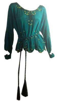 Emerald Green Silk Beaded and Belted Tunic w/ Open Sleeve Detail circa - Dorothea's Closet Vintage