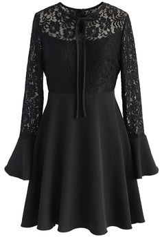 Romantic Twirl Lace Dress in Black - New Arrivals - Retro, Indie and Unique Fashion
