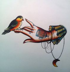 Cassandra Frances hand with bird perched with hanging moon necklace. birdcage. old school traditional style tattoo