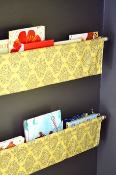 Book Slings idea as possible shoe storage or stuffed animal storage.