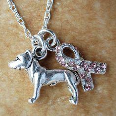 Dog Breed Breast Cancer Awareness Ribbon Sterling Silver Necklace (multiple breeds), Dog Park Publishing