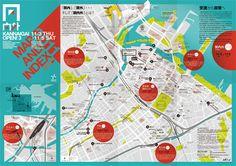 関内外OPEN!3 : 地図デザイン**実用的 & good design - NAVER まとめ Map Layout, Map Design, Book Design, Guide Book, City Maps, Cartography, Magazine Design, Design Reference, Editorial Design