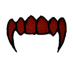 - Red Vampire Fangs Applique Iron On Patch - 100% Cotton - Well made, greatly embroidered and neatly stitched. - Just iron on any fabric you like - Turn your ordinary clothes or bags into something th