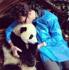 #panda #pandas A normal day for Andrew involves cuddling pandas...i envy his job