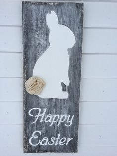 Happy Easter wood sign with bunny and tail made by Oldmillsigns