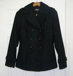 $168 Express Black Pleat Back Wool Blend Peacoat Wool Jacket Coat XS | eBay