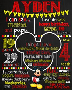 Mickey Mouse Birthday Chalkboard Sign by VickiTsCreations on Etsy