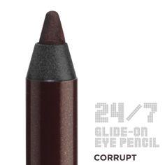 24/7 Glide-On Eye Pencils by Urban Decay | CORRUPT (dark metallic reddish brown shimmer w/silver micro-sprakle) -- Metallic (very metallic)