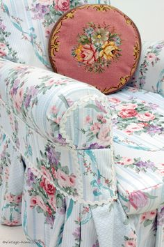Vintage Home Shop - Pretty Vintage Roses and Ribbons Fabric Covered Armchair: www.vintage-home.co.uk