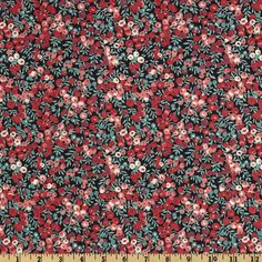 Liberty of London Tana Lawn Wiltshire Black/Teal/Rose from @fabricdotcom  From the world famous Liberty Of London, this exquisite cotton lawn fabric is finely woven, light weight and ultra soft. This gorgeous fabric is oh so perfect for flirty blouses, dresses, lingerie, tunics, tops and more. This versatile cotton lawn fabric can also be used for quilting and patchwork. Fabric features an allover rose bud design. Colors include pink, red and jade green on a black background.