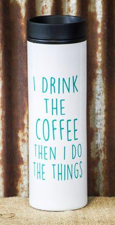 Coffee Tumbler Coffee Thermos To Go Coffee by RiOakWesternDesign