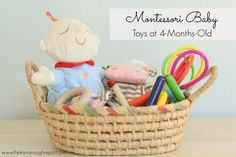 The Kavanaugh Report: Montessori Baby -- Toys at 4 Months baby breastfeeding baby infants baby quotes baby tips baby toddlers 4 Month Old Baby Activities, Infant Activities, Montessori Baby Toys, Montessori Activities, 4 Month Old Toys, 4 Month Baby Toys, Baby Treasure Basket, Baby Activity Toys, Baby Weeks