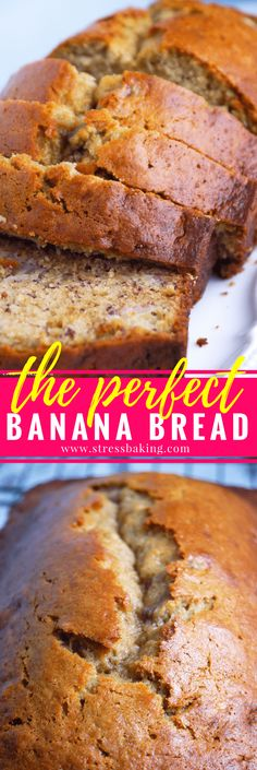 The Perfect Banana Bread: Easy, moist banana bread that is perfectly crisp on the outside. One bowl, no mixer required! | stressbaking.com @stressbaking #stressbaking #bananabread #nationalbananabreadday #breakfast #recipe #comfortfood