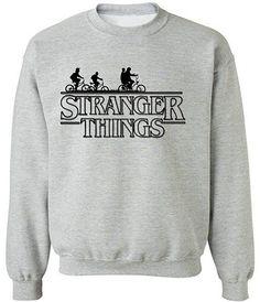 icustomworld Stranger Things Ride Bike Sweater Netflix Series Crewneck Sweatshirt M Gray