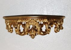 Vintage Hollywood Regency Shelf, Gorgeous Syroco Gold, Wood Shelf, Resin Ornate Accent. Beautiful to Add to Other Pieces or Alone by QUEENIESECLECTIC on Etsy