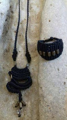Macrame set boho  design black jewelry