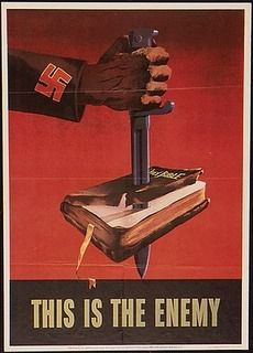 This is one of the Nazi propaganda posters and in it says that the bible is the enemy. Nazi Propaganda, Patriotic Posters, Les Aliens, Ww2 Posters, Retro Posters, Movie Posters, Poster Vintage, World War Two, Wwii