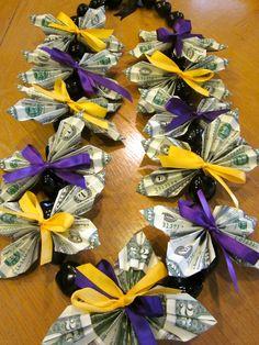 Kukui Nut Graduation Money Lei with two dollar by PCbyMarilyn
