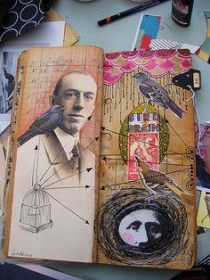 Bird Man pages. by Anahata Katkin / PAPAYA Inc., via pet girl boy Artist Journal, Artist Sketchbook, Art Journal Pages, Sketchbook Layout, Sketchbook Ideas, Art Journaling, Illustrations, Illustration Art, Photocollage
