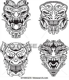 265467b44 Aztec monster totem masks View Large Clip Art Graphic #Marquesantattoos