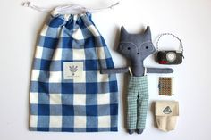 This gift set includes: -Wolf doll tall, cotton with hand embroidered details) -Reversible dress cotton with snap closures at shoulders. Photos show both sides of the reversible dress) -Canvas backpack (cotton canvas with elastic straps and snap closure) Doll Crafts, Diy Doll, Sewing Crafts, Sewing Stuffed Animals, Fabric Toys, Sewing Dolls, Toy Craft, Soft Dolls, Handmade Toys