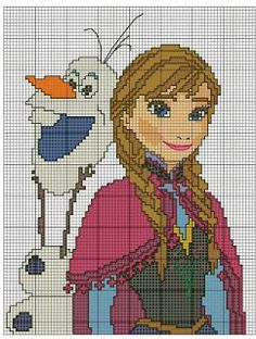 Anna and Olaf frozen x-stitch Cross Stitching, Cross Stitch Embroidery, Embroidery Patterns, Disney Stitch, Disney Cross Stitch Patterns, Cross Stitch Charts, Crochet Cross, Crochet Chart, Frozen Cross Stitch