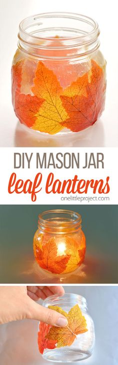 These mason jar leaf lanterns are SO PRETTY and they're so easy to make! This is such a great DIY fall decoration! Perfect for the fall mantle or a thanksgiving table. A great grown up craft and a fun little decoupage craft for fall! Mason Jar Candle Holders, Mason Jar Candles, Mason Jar Diy, Mason Jar Crafts, Autumn Crafts, Thanksgiving Crafts, Thanksgiving Table, Adornos Halloween, Fall Diy
