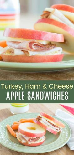 Turkey Ham and Cheese Apple Sandwich - no bread is no problem when you make easy healthy sandwiches by piling your favorite deli meat and cheese on apple slices. A fun kids lunch idea! Turkey Lunch Meat Recipe, Turkey Ham, Turkey Dishes, Gluten Free Sandwiches, Healthy Sandwiches, Apples And Cheese, Ham And Cheese, Cheese Chips, Easy Lunches For Kids