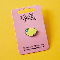 Lemon enamel button collar lapel pin $8.64
