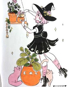 """4,708 curtidas, 29 comentários - Vicki (@vickisigh) no Instagram: """"YAAAA IT'S OCTOBER! happy day 1 of #inktober ! remember to water your plants today~ aaaa i'm so…"""""""