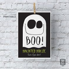 Boo printable sign, Trick or Treat, Halloween, Ghost, Monster, Haunted, House…