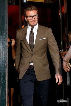 David Beckham Style - brown blazer, blue pants, cool glasses and hairstyle <3