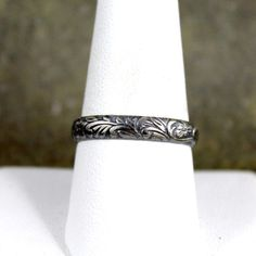 Rustic Floral Pattern Sterling Silver Band Wedding por ASecondTime