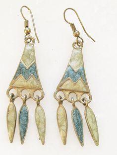 VTG EDGAR BEREBI Signed Blue Enamel Glitter Swirl Dangle  Earrings Artisan #berebi #DropDangle