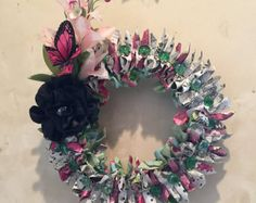 Chandelier paper wreath by MaddHatterStudio on Etsy