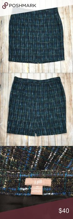"""J. Jill tweed skirt J. Jill blue and green tweed skirt. Very soft and fuzzy with a flattering shape. Perfect for fall and winter at the office or just for fun! 20"""" waist, 22.5"""" length. OFFERS ENCOURAGED!  Tags: work wear, professional, pencil skirt, girly, casual, dinner date, fun colors, colorful, plus size, woman, classic J. Jill Skirts Pencil"""