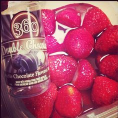 Strawberries soaked in 360 Double Chocolate Vodka #360Vodka
