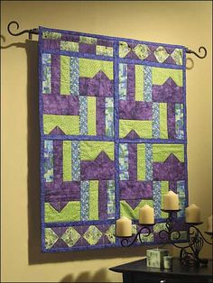 Sewing - For the Home - General Decor - Points in Purple Pieced Wall Hanging - #FS00173