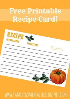 Print out this free printable recipe card to organize your recipes!  Need some Fall decorating ideas for cheap or free?  You need to read this!