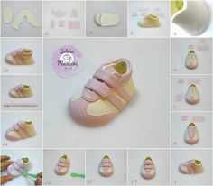 How To Make A Fondant Converse Sneaker Shoe Template . Gum Paste Baby Takkies I Have Made A Few Pairs In . Home Design Ideas Fondant Toppers, Fondant Cakes, Cupcake Cakes, Cupcakes, Fondant Figures, Cake Decorating Techniques, Cake Decorating Tutorials, Decorating Ideas, Fondant Baby Shoes