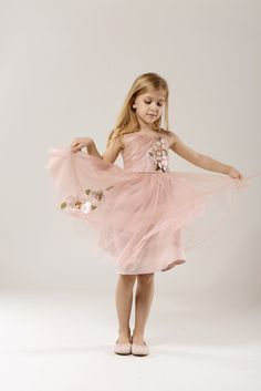 Caroline Blush Pink Tulle Flower Girl Dress with floral applique