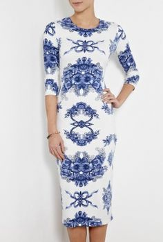 This Teacup Print Daisy Dress By Preen Would Make A Great Bridesmaid Blue And White China Inspired Wedding Ideas
