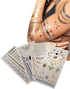 4 ív arcra és testre is alkalmas fémhatású tetoválás. A készletben található különböző színű és mintájú sablonokkal kézügyesség nélkül is könnyedén készíthetsz alkalmi, exkluzív, különleges, ékszer jellegű tetoválást bármilyen alkalomra. Tökéletes testfestés helyett, díszítésnek, kiemeléshez, de akár nyaralásra is alkalmi sminkként, vagy testdíszítésként is fürdőruhához.