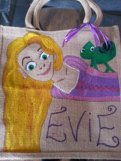 Repunzel from Tangled hand painted jute bag. comes in a variety of sizes, you choose. completely personalized to your needs. A must for any fan