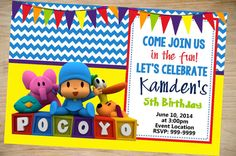 Pocoyo Birthday Invitation Pocoyo Invitation por Partyboxinvites